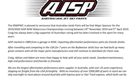 Australian Jetski Parts will be the Major Sponsor for the 2019/2020 Season!