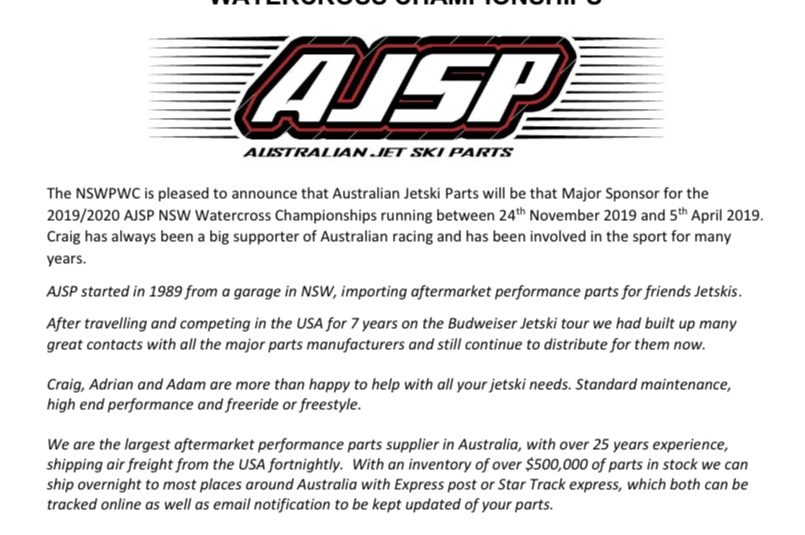 Australian Jetski Parts will be the Major Sponsor for the 2019/2020 Season!
